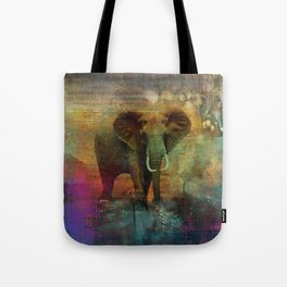 Abstract Grunge Elephant Digital art Tote Bag