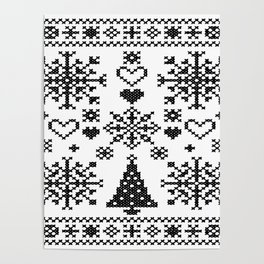 Christmas Cross Stitch Embroidery Sampler Black And White Poster