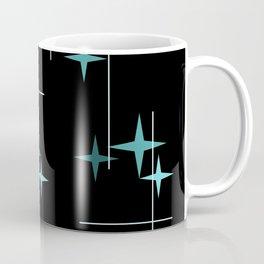 Mid Century Modern Stars Black Teal Coffee Mug