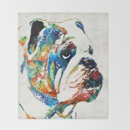 Bulldog Pop Art - How Bout A Kiss - By Sharon Cummings Throw Blanket