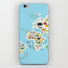 Cartoon animal world map for children and kids, Animals from all over the world iPhone Skin