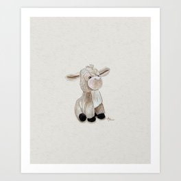 Cuddly Donkey Watercolor Art Print