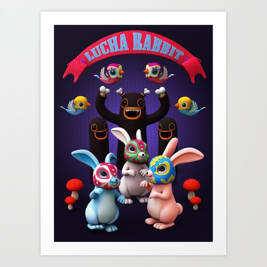 Lucha Rabbit Art Print
