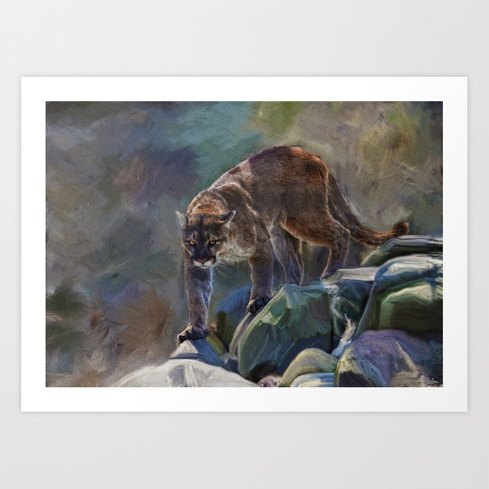 The Mountain King - Cougar Wildlife Art Art Print
