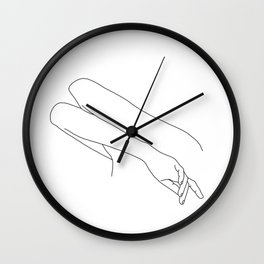 Minimal line drawing of woman's folded arms - Amy Wall Clock