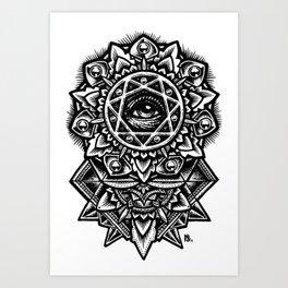 Eye of God Flower Art Print