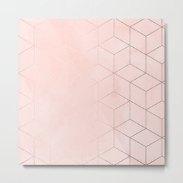 Rosegold Pink Geometric Blocks Metal Print