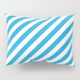 Oktoberfest Bavarian Blue and White Candy Cane Stripes Pillow Sham