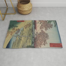 Mount Fuji from Tokyo with red maple trees Rug