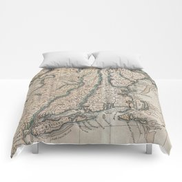Vintage Map of The New England Coast (1747) Comforters