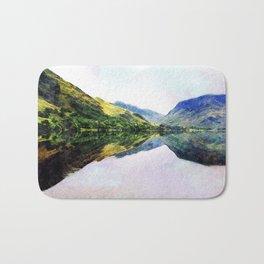 Buttermere Mirror Mountains, Lake District, UK. Watercolour landscape. Bath Mat