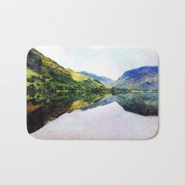 Buttermere Mirror Mountains, Lake District, UK. Watercolour landscape. Bath Mat