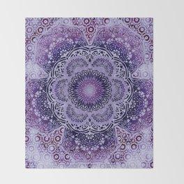Lilac Boho Brocade Mandala Throw Blanket