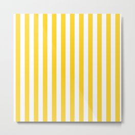Large Taxi Yellow and White Cabana Stripe Metal Print