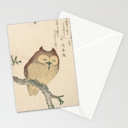Owl on a Magnolia Branch by Kubota Shunman Stationery Cards