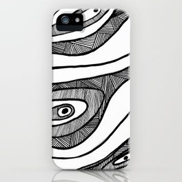 Black Waves Linework iPhone Case