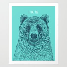 I Like You (Bear) Art Print