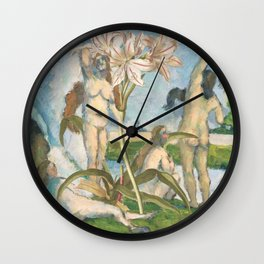 Cezanne's Ladies And Some Lilies Wall Clock