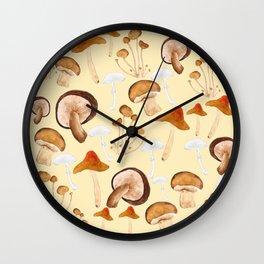 mushroom pattern watercolor painting Wall Clock