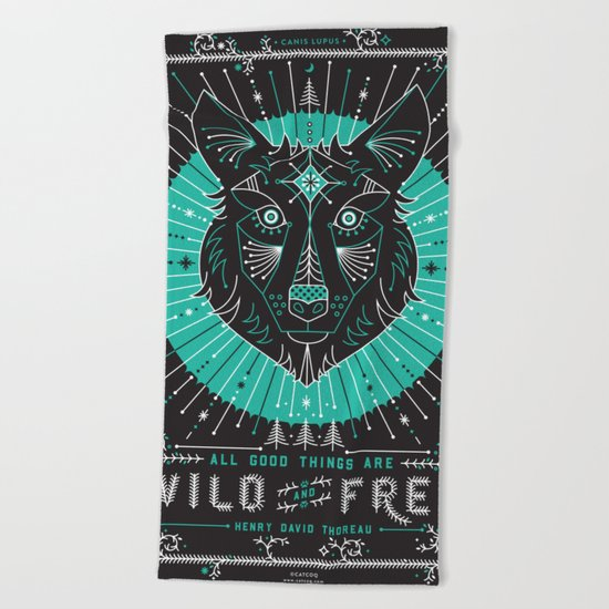 Wild & Free Wolf – Turquoise & Grey Beach Towel