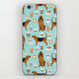 Bloodhound coffee dog pattern dog breed custom gifts for dog lovers bloodhounds iPhone Skin