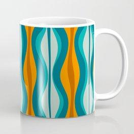 Hourglass Mid Century Modern Abstract Pattern in Turquoise, Aqua, Orange, and Rust Coffee Mug