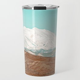 White Cap // Grainy Photograph Backpacking Before the Winter above Tree Line Travel Mug