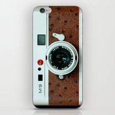 Classic retro White with Brown Leather vintage camera iPhone 4 4s 5 5c, ipod, ipad case iPhone Skin