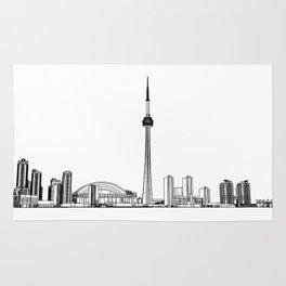 Toronto Skyline - Black on White Rug
