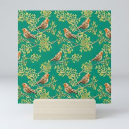 Red Robin & Emerald Green Pattern Mini Art Print