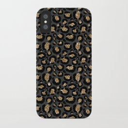 Black Gold Leopard Print Pattern iPhone Case