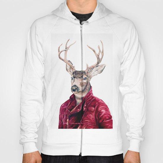 Deer In Leather Hoody