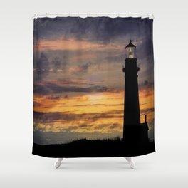 Newport Oregon - Setting Sun Shower Curtain