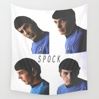 spock Wall Tapestries featuring Spock / Star / Trek / Grid by Earl of Grey