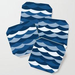 Classic Blue Wave Pattern Coaster