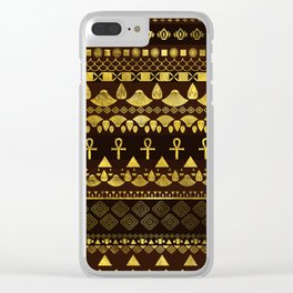 Egyptian Ethnic Pattern gold on rich browns Clear iPhone Case