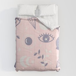 Cute pattern with esoteric mystical boho elements: eyes, crystal ball, moon and stars Comforters