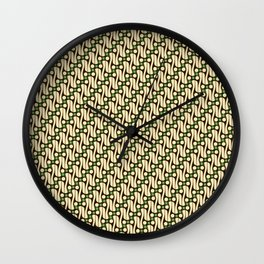 Batik Parang Green Pattern Wall Clock
