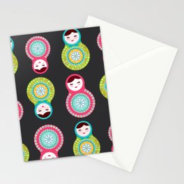 dolls matryoshka on black background, pink and blue colors Stationery Cards