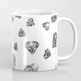 Glam Black Faux Glitter Diamond Gems Pattern Coffee Mug
