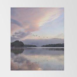 Uplifting: Geese Rise at Dawn on Lake George Throw Blanket