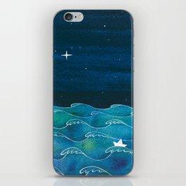 Night big ocean waves iPhone Skin
