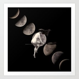 Moon Phases with Vintage Witch Art Print