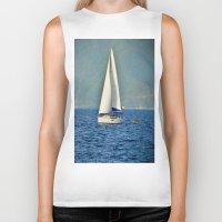 sailboat Biker Tanks featuring Sailboat by Joe Mullikin