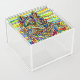 Colorful Psychedelic Rainbow Wolf Acrylic Box