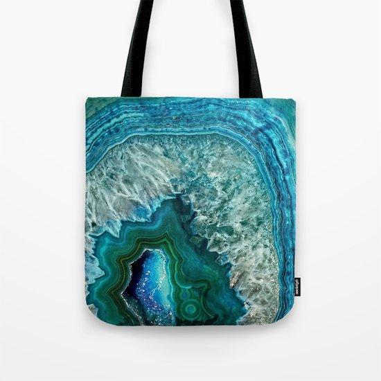 Aqua turquoise agate mineral gem stone- Beautiful backdrop Tote Bag