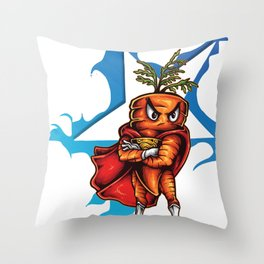 Angry Carrot Star Foodietoon Throw Pillow