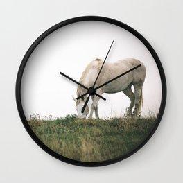 Wild White Horse Grazing Wall Clock