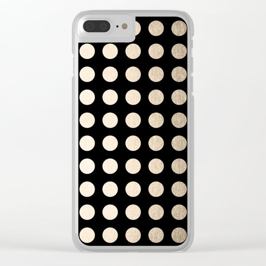 White Gold Sands Polka Dots on Midnight Black Clear iPhone Case