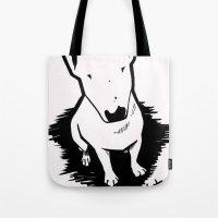 bull terrier Tote Bags featuring bull terrier by sabrina.gennari